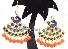 Fashion 40mm Multicolor Peafowl Pendant with Pink Round coral dangle earring-419