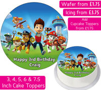 PAW PATROL EDIBLE WAFER & ICING PERSONALISED CAKE TOPPERS DECORATION SKYE RUBBLE