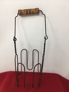 vintage Country Wire Holder wood handle for Large Candle Jar