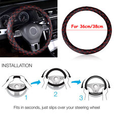 14''/15'' Car Auto Steering Wheel Cover Faux Leather Universal Fit 36cm & 38cm