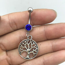 Steel tree d-blue Crystal Navel Belly Button Bar Ring Body Piercing Jewelry !