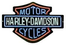 Harley-Davidson Neon Lights Embossed Bar Shield Tin Sign 19 X 12 in 20113