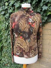 Full Dance- Ladies Brown Paisley Patterned High Neck Stretch Top Size M