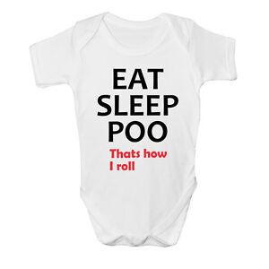 Eat Sleep Poo Funny Babygrow Babies Gift Boy/Girl Vest Babies Clothing Birthday