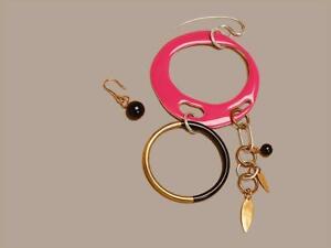 NWT Diane von Furstenberg DVF Asymmetric Two Ring Charm Pink Earrings $228
