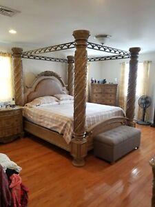 Bedroom Set King Used Solid Wood Ashley Furniture Original $4k local pickup Only