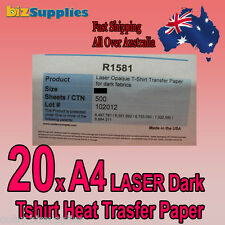 20xA4 LASER Printer Transfer Paper for DARK Cotton T-Shirt Heat Press / Iron On