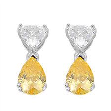 Yellow Topaz & Cz Teardrop Dangle  .925 Sterling Silver Earrings