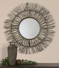 "Farmhouse Style 38"" Woven Birch Branch Wooden Round Beveled Wall Vanity Mirror"