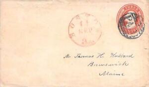 Circa 1855 Boston Mass to Brunswick ME on U10 PSE , Red PM, 3cts and PAID Cancel