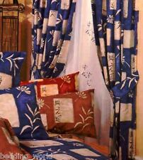 """66""""x72"""" CURTAINS SHANGHAI BLUE CREAM ORIENTAL FLORAL TEXT WRITING WITH TIE BACKS"""