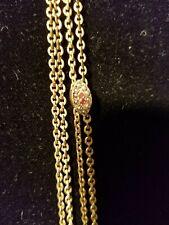 Watch Chain Shape ruby pearls Slide antique 19C Victorian Gf rose Gf Ladies