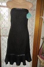 VINTAGE  Style 50'S ~ BARDOT ~ Black/Aqua Corsage  Strapless DRESS * Sz 6 * NWT*