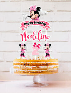 Minnie Mouse Cake Topper Personalised *STURDY* Kids Birthday Party Decorations
