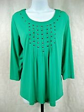 Marc Bouwer Size L Green 3/4 Sleeve Embellished Blouse
