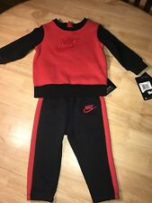 Nike Infant Baby Fleece Crew Neck Set Outfit Black Red 80% Cotton 18M $40.00