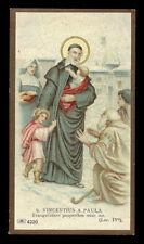 antico santino cromo-holy card S.VINCENZO DE PAOLI salvardi