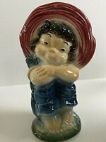 Vintage Royal Copley Pottery Red Hat Girl Head Vase Wall Pocket