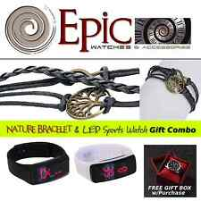 EPIC Leather Charm Braclet & Sports Watch Combo