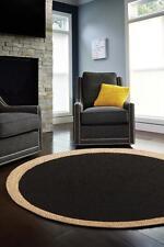 Black Beige Modern Rug Large Floor Rug Mat Round Jute Flat Weave FREE DELIVERY