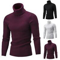 Men Winter Warm Sweater Slim Fit Knitted High Neck Pullover Jumper Turtleneck