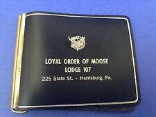 Loyal Order of Moose Lodge 107 Black Leather Money Clip Holder Harrisburg Penn