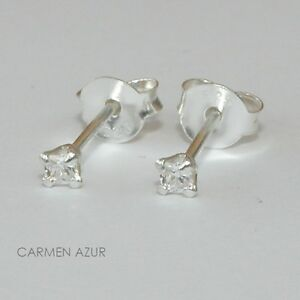 Sterling Silver 925 Tiny Cubic Zirconia Stud Earrings New Gift Bag Free UKP&P