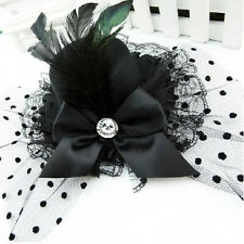 Black Mini Hat Feather Hair Clip with Bow LW