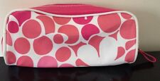 Clinique Cosmetic Make-up Bag Pouch Pink Magenta Fabric Flowers Polka Dot New
