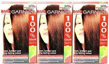 3 X Garnier 100% Colour Permanent Colour Cream #552 Intense Mahogany Brown