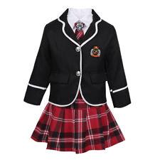 Kids Boys Girls School Uniform Suit Coat Shirt Tie Pants/Skirt Outfit 4 pcs Set