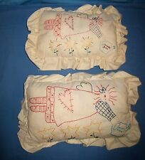 "Vtg Lot 2 Hand Embroidered Child Size Pillows Garden Angel 16"" X 10"" & 14"" X 10"""