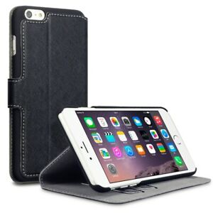 Black Leather Wallet Low Profile Phone Case For Apple iPhone 6, 6S