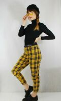 Womens Clueless Style Lined High Waisted Tartan Check Trousers - Mustard/Navy