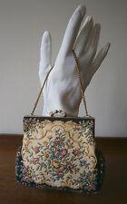 Vintage 1950 S petite tapisserie sac chaîne dorée Poignée Rose & Citron Roses Mariage