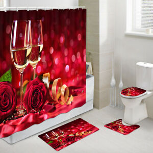 Champagne and Red Roses Shower Curtain Toilet Cover Rug Mat Contour Rug Set