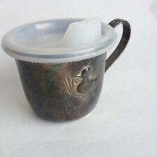 Vintage Silver plated Baby cup with lid Childrens Duck Embossed Hong Kong Sippy