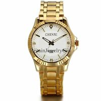 Luxury Men's Stainless Steel Band Gold Tone Watches Quartz Wrist Watch
