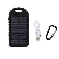 5000mAh Dual USB Waterproof Solar Charger External Battery Power Bank Black NEW