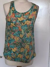 PRIMARK, UK 8, MULTICOLOURED FLORAL STRETCH SLEEVELESS VEST TOP, PRE-LOVED