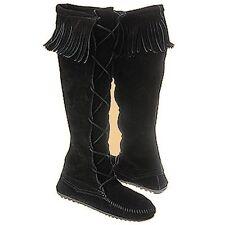 Minnetonka Womens 1429 Black Suede Front Lace Hardsole Knee Hi Fringe Boots 4M