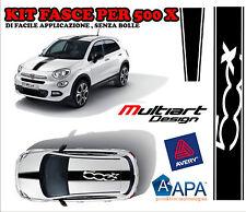 ADESIVI  FASCE PER FIAT 500 X NEW STICKERS  TETTO COFANO NERO LUCIDO