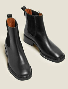 MARKS AND SPENCER AUTOGRAPH LEATHER BLOCK HEEL ANKLE BOOTS BLACK COLOUR SIZE 7.5