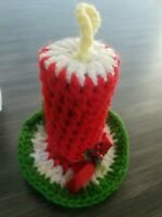 Vintage Christmas Flaming Candle Crochet Handmade Holly Leaf