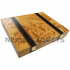 Chess Piece Game Storage Box Case Burl Wood Holds Up to Pieces w 3 Inch King NEW