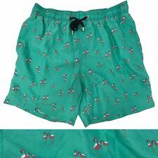 """Ingear Men's S NWT Flamingo 5"""" Elastic Waist Pull On Swim Trunks Green Polyester"""