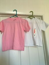 Lot of 2 short sleeve solid t-shirts light pink Xs 5-6 & White S Ch 6-8