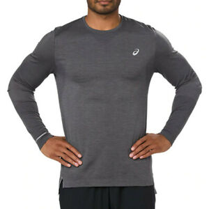 Asics Mens Seamless Long Sleeved Running Top Grey Sports Breathable Reflective