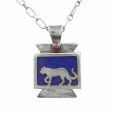 Daniel Holliday Southwestern Sterling Silver Lapis Garnet Cat Necklace