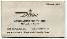 """Vintage Business Card: """"Davies - Mfgrs To The Model Trade"""" [San Francisco]"""
